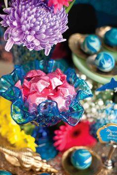"Foil Wrapped Candy Stars from a Shark & Mermaid ""Under the Sea"" Joint Birthday Party via Kara's Party Ideas! KarasPartyIdeas.com (4)"