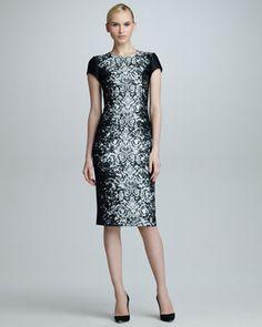 Abstract Lace Jacquard Dress, Black/Off-White by Carolina Herrera at Neiman Marcus.