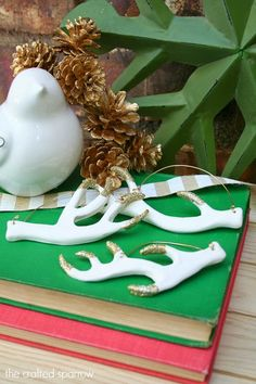 DIY Clay and Glitter Antler Ornaments