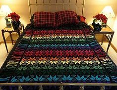 This beautiful crochet afghan is made in the Fair Isle technique with sc in the back loop of the stitches and the non-working yarn encased below the stitches. There are color changes made throughout the rows. All rows are worked on the right side and the ends are made into fringe, so there is no need to weave in any tails.