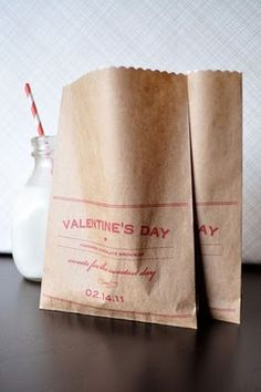 Personalised cookie bags and a mini bottle of milk with a red and white straw. #Love