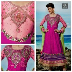 "Buy Now @ http://goo.gl/WxdMIG  Hot Pink Embroidery Faux Georgette Bridal Designer Anarkali Suit  A fuschia ensemble with rich tonal 'Aari' work all over. heavy embroidery at the neck. ornate back with gemstone work. borders finished with unique 'Parsi"" embroidery and laces in hues of wines. contrast green chiffon dupatta."