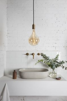 Simple Sink. Which RAIL19 Soap Dispenser do you think would look best with this bathroom sink? | www.rail19.com