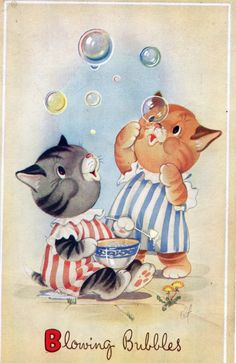Blowing Bubbles Nice English Cat Postcard  by sharonfostervintage, $6.00