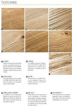 this picture show some of the different textures that we have. estos son algunos de las texturas en madera.