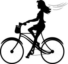 Black and White Clip Art Illustration of a girl riding a bike in silhouette.
