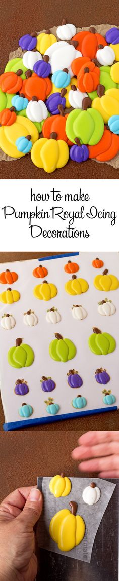 Pumpkin Royal Icing Decorations with a How to Video (royal icing cookies decorating) Icing Frosting, Cookie Icing, Icing Recipe, Royal Icing Cookies, Cake Decorating Techniques, Cake Decorating Tips, Pumpkin Decorating, Cookie Decorating, Thanksgiving Cookies