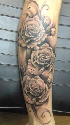 Roses 3D with drops of water tattoo   #Tattoo, #Tattooed, #Tattoos