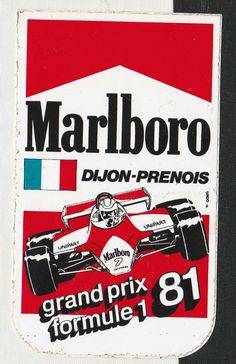 ORIGINAL MARLBORO DIJON-PRENOIS FRENCH GP 1981 F1 PERIOD RACE STICKER ADESIVO