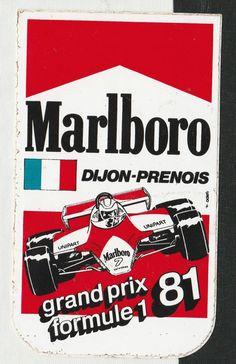 ORIGINAL MARLBORO DIJON-PRENOIS FRENCH GP 1981 F1 PERIOD RACE STICKER ADESIVO