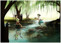 "You're it by Mikomi-sama.deviantart.com on @deviantART - Chihiro and Haku from Miyazaki's ""Spirited Away"""