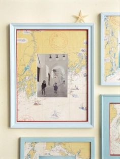There aren't any instructions but it's pretty straightforward - just use a map from where the photo was taken as a mat in your photo frame.  Simple and quick, but what an impact!