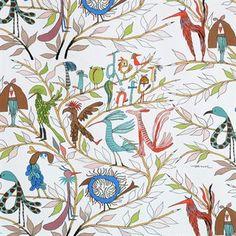 Humoristisen hauska Kangas Fåglarna berättar tulee ruotsalaiselta Almedahlsilta ja sen suunnitteli Olle Eksell 1960-luvulla. Olle Eksell oli tunnettu ruotsalainen kuvataiteilija, joka rakasti piirtämistä. Kankaan linnut muodostavat kirjaimia ja sanoja. Kankaan monet yksityiskohdat vangitsevat katseen, ja siitä löytyy aina uusia yksityiskohtia.