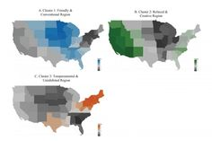 "A recent study in the Journal of Personality and Social Psychology determined the regions in which people of certain personalities live. The midwest is ""friendly and conventional"" (blue), the west (and some of the east coast) is ""relaxed and creative"" (green), and the northeast, along with Texas, is ""temperamental and uninhibited"" (orange).  (from maptacular and Nature World News)"