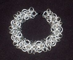 Chainmaille Bracelet, Osiris Weave in Silver tone Aluminum