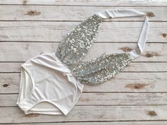 ❤ High Waisted One Piece Swimsuit - Handmade in a Vintage Inspired Design - This is Such a Figure Flattering Swimming Costume! ❤ ❤ In AMAZINGLY Glamourous White and Silver sequin design ❤ This swimsuit is everything that swimwear should be... cute, fun & gorgeous, yet at the same time