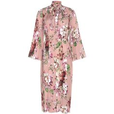 Gucci Printed Silk Dress ($2,940) ❤ liked on Polyvore featuring dresses, silk floral dress, flower pattern dress, botanical dress, floral print silk dress and floral dress