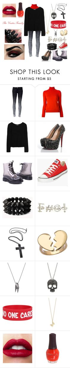 """""""The Vantas Family - Homestuck"""" by nerd-inspired ❤ liked on Polyvore featuring Carven, Kain, Christian Louboutin, Converse, Forever 21, Blu Bijoux, Bukkehave, MANGO, GUESS and Tiffany & Co."""