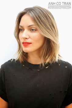 Le Fashion Blog Haircut Inspiration The Perfect Wavy Bob Via Mister Anh Co Tran Front Side Texturized Beach Waves Highlights Balayage Bright Beauty Red Lipstick Destroyed Distressed Black Tee Tshirt Summer Haircut 6 photo Le-Fashion-Blog-Haircut-Inspiration-The-Perfect-Wavy-Bob-Via-Mister-Anh-Co-Tran-Front-Side-6.jpg