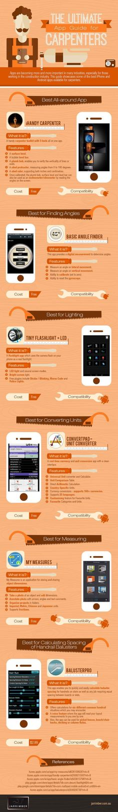 Educational : The Best Smartphone Apps For DIY Carpentry [Infographic] | Lifehacker Australia #woodworkinginfographic
