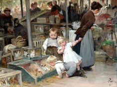 Henry Jules Jean Geoffroy (French, 1853 - 1924) - The Animal Market In Belleville