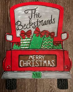 Rustic Wooden Merry Christmas Y'all Red Truck Custom Door Hanger Christmas Red Truck, Christmas Wood, Christmas Ideas, Merry Christmas Drawing, Merry Christmas Signs, Chritmas Diy, Christmas Images, Christmas Door Decorations, Christmas Ornaments