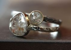 gorgeous Alexis Russell champagne diamond stacking rings