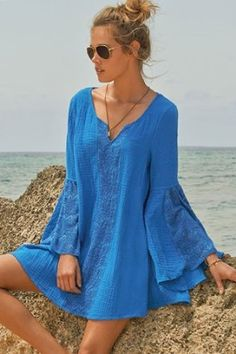 L*Space Women's Threads Tunic Swim Cover Up------would be a very pretty blouse, with some adjusting.