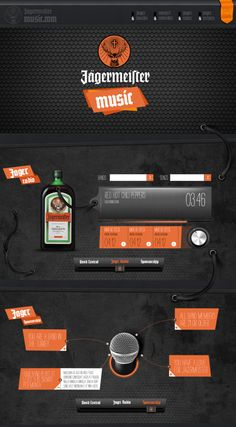 JAGERMEISTER - Home Page - Jager Bands - Concert Calender - Jager Store - Jager Recipes    Jagermeistermusic.com  is a self initiated project to challenge redesign. Targeted enhancing the user experience and absorbability of content.    Personal Project. Concept design for Jagermeister music.com