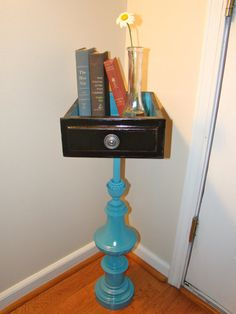 Upcycled Lamp Base and Drawer Table by ConceiveOf on Etsy, $83.00