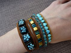Handmade By Hannah: Turquoise, Brown and Gold Bracelets