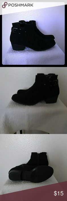 """Black Suede Booties Black Suede Booties, 1 1/2"""" heel. Cute buckle on side, inside zip. Gently used condition, almost new. Unisa Shoes Ankle Boots & Booties"""