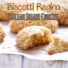 How to Make Biscotti Regina or Sicilian Reginelle Cookies Recipe with step by step photos & video. Crispy and delicious Italian sesame seed covered cookies. They are incredibly great with coffee or te Eggless Biscotti Recipe, Biscotti Rezept, Eggless Cookie Recipes, Gluten Free Cookie Recipes, Eggless Baking, Baking Recipes, Italian Biscotti Recipe, Italian Sesame Cookies Recipe, Italian Cookie Recipes