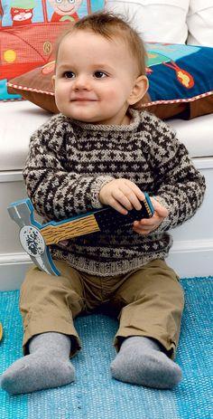 Strik for en god sag: Uldtrøje til baby fra Hendes Verden Knitting Patterns Boys, Baby Boy Knitting, Knitting For Kids, Crochet For Kids, Baby Patterns, Knit Crochet, Baby Kostüm, Baby Kind, Baby Sweaters