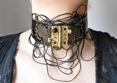 Steampunk Gothic black neck choker collar with lace and cords Black Neck Choker, Diy Fashion, Fashion Jewelry, Artisan & Artist, Shopping Center, Shopping Mall, Online Shopping, Women Lifestyle, Cords