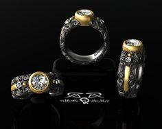 Intricate 14kt European Yellow Gold Black Silver by DeMerJewelry, $4,467.00