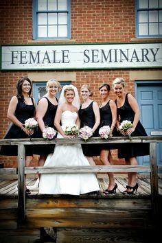 Sarah with her Bridesmaids in the Ohio Village.  Columbus Ohio Wedding Venue | Ohio Village Wedding