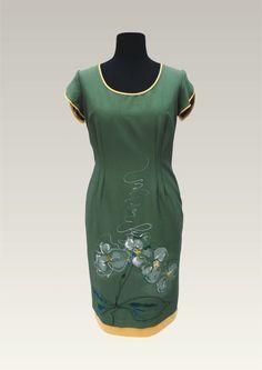 Handpainted Flower on green Dress