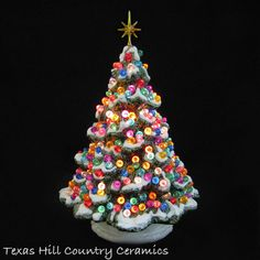 Ceramic Christmas Tree Shenandoah Pine White Snow Lots of Lights 10 Inches - Made to Order - Texas Hill Country Ceramics Christmas Village Sets, Christmas Time, Merry Christmas, Christmas Things, Pink Christmas, Christmas Projects, Holiday Fun, Holiday Ideas, Christmas Ideas