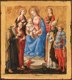 Madonna and Child with Six Saints, tempera on wood with gold ground, late 1440s. New York, Metropolitan Museum of Art, Bequest of Mary Stillman Harkness, 1950.
