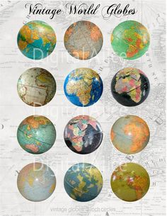 VINTAGE WORLD GLOBES Craft Circles  Retro Desk by DigitalAlice