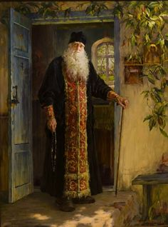 Starets elder Anastasiy At The Age Of 100 years oil canvas Dimensions 230 x 170 cm 90 x 76 inches The artwork is in the funds of Russian Academy of Art Sculpture and Architecture named after Glazunov Other works by this Master Chubakov Anton Russian Painting, Russian Art, Exotic Art, Ukrainian Art, Byzantine Icons, Russian Orthodox, Orthodox Christianity, Sacred Art, Christian Art