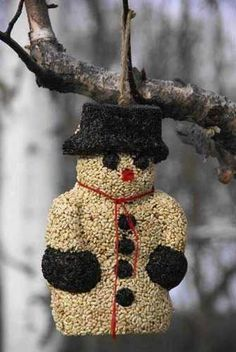Snowman Seed Treat offers feathered friends an energy-packed meal with no waste! Helps offset winter blues with a large seed treat that adds a festive touch to the garden. Treat your wild birds during Wild Bird Food, Wild Birds, Holiday Crafts, Holiday Fun, Holiday Decor, Bird Seed Ornaments, No Waste, Christmas Decorations, Christmas Ornaments
