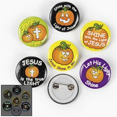 ( 4 doz. ) Christian Pumpkin Glow-In-The-Dark Mini Buttons
