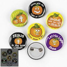 ( 4 doz. ) Christian Pumpkin Glow-In-The-Dark Mini Buttons