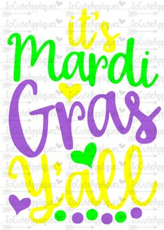 SVG DXF EPS Cut file its Mardi Gras Yall cut by SoCuteAppliques