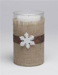 Burlap-Wrapped Candle Holder Hostess Gift Idea - use bright colored ribbon/findings for a spring or summer look