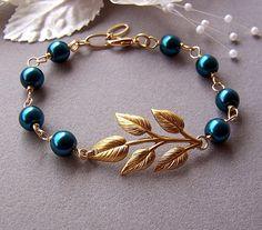 Wedding Bridal Jewelry  Branch Pearl Bracelet Leaf by lecollezione, $29.50