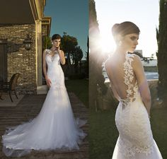 Vestido de noiva casamento Vestido de noiva sereia Sexy Backless apliques tribunal trem vestidos Vestido de noiva