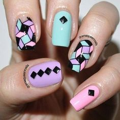 Geometric studded mint, ban pink & lilac manicure...x